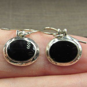 Sterling Silver Oval Black Inlay Rustic Earrings